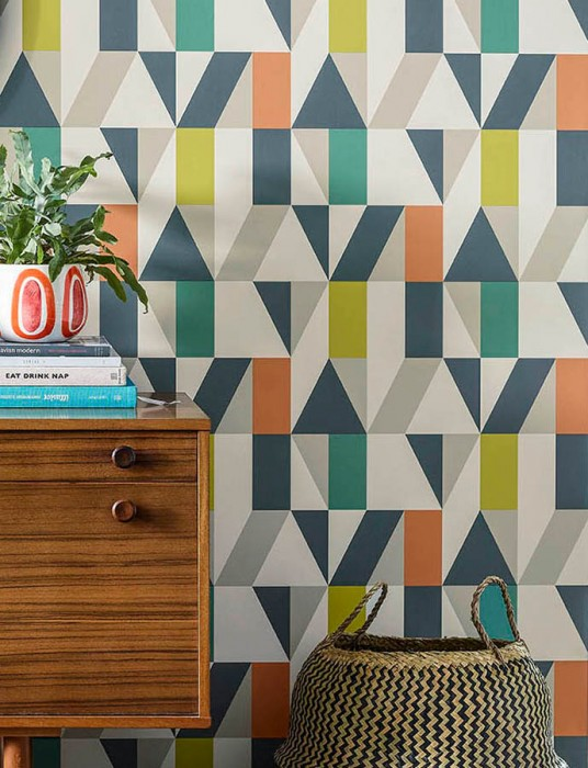 Wallpaper Jorge Matt Geometrical elements Cream Grey Green Pebble grey Orange