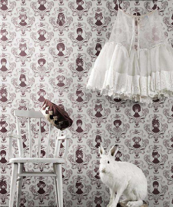 Wallpaper Tillsammans Matt Baroque damask Portraits of dogs Cream Light wine red