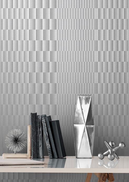 Matériaux Papier peint Serika aluminium blanc Vue pièce