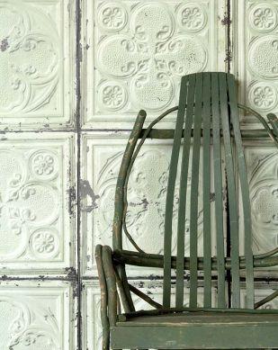 Papel pintado Brooklyn Tins 05 verde blanquecino Ver habitación