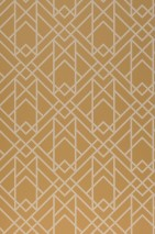 Wallpaper Baya Hand printed look Matt Art Deco Graphic elements Ochre yellow Light ivory
