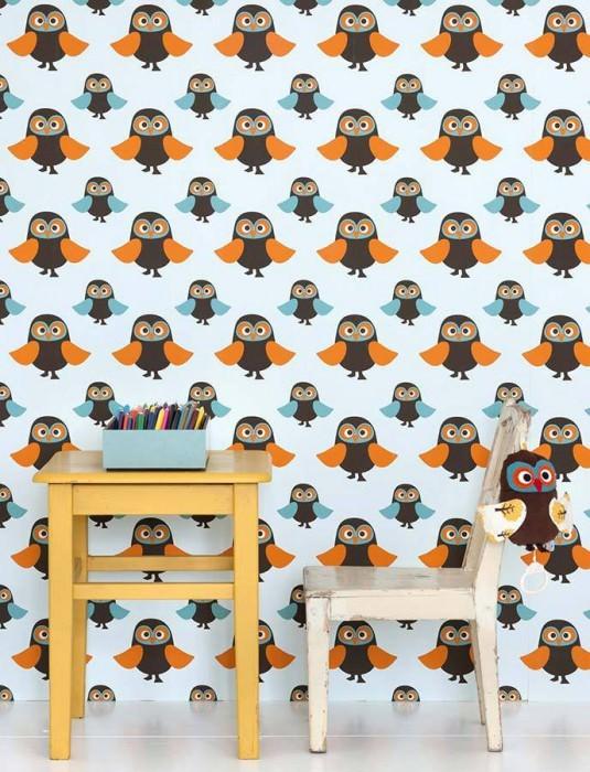 Papel pintado Owls Mate Búhos Blanco azulado  Marrón Naranja Turquesa