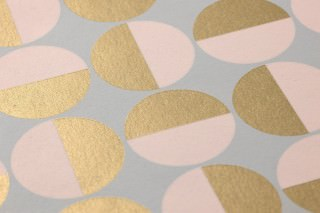 Wallpaper Wahida Matt Geometrical elements Mint grey Pearl gold Pale pink
