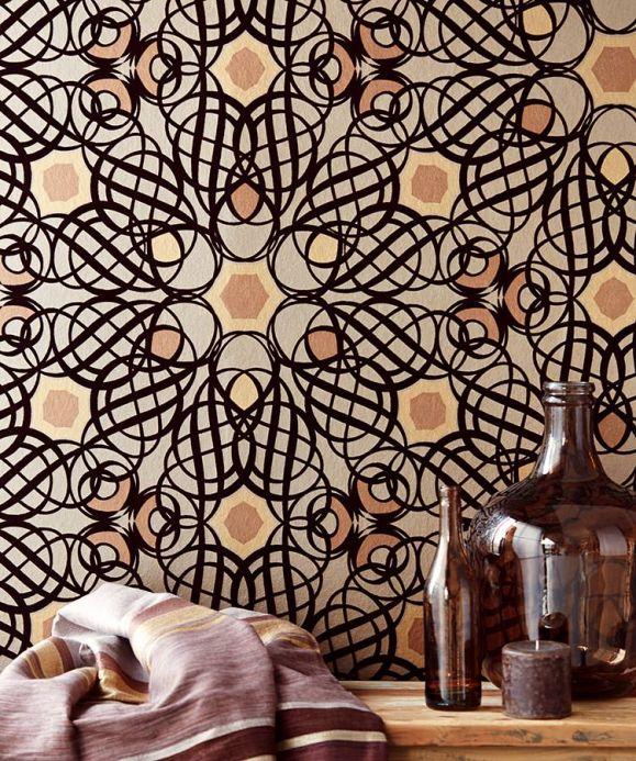 Flock Wallpaper Wallpaper Nilus chocolate brown Room View