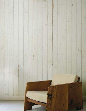 Papier peint Scrapwood 08 blanc crème Vue pièce