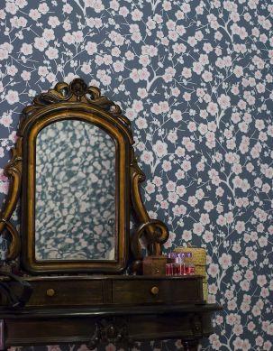 Wallpaper Laila blue grey Room View