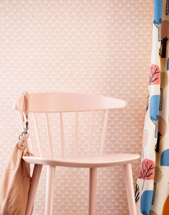 Geometric Wallpaper Wallpaper Darja pastel rose Room View