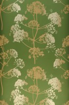 Wallpaper Emorie Matt Field flowers Pearl green Light ivory Sand yellow