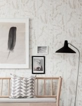 Papel pintado Alanna Efecto impreso a mano Mate Hierbas Blanco Beige Beige grisáceo