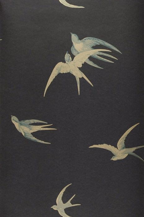 Wallpaper Izanami Shimmering pattern Matt base surface Birds Black grey Pale grey blue Gold