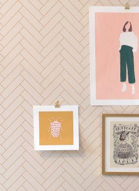 Wallpaper Scandi Herringbone cream Raumansicht