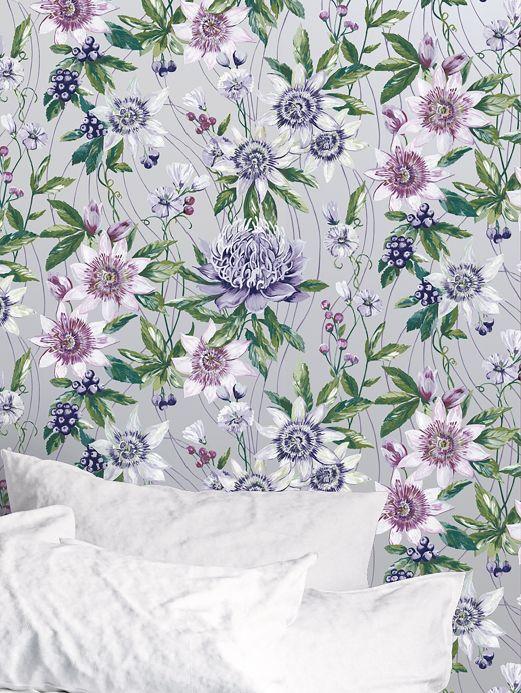 Papier peint floral Papier peint Zagora argenté brillant Vue pièce