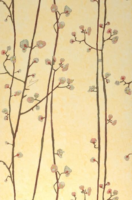 Papel de parede VanGogh Branches Mate Ramos de flores Amarelo pálido Rosa antique Creme Marrom acinzentado Amarelo esverdeado Turquesa pastel