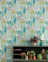 Wallpaper Luzie Matt Leaves Flowers Mint turquoise Azure blue Cream Light green Light wine red White