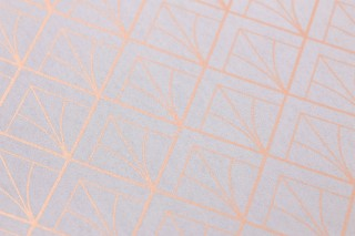 Wallpaper Catriona Shimmering pattern Matt base surface Art Deco Graphic elements White grey Copper shimmer