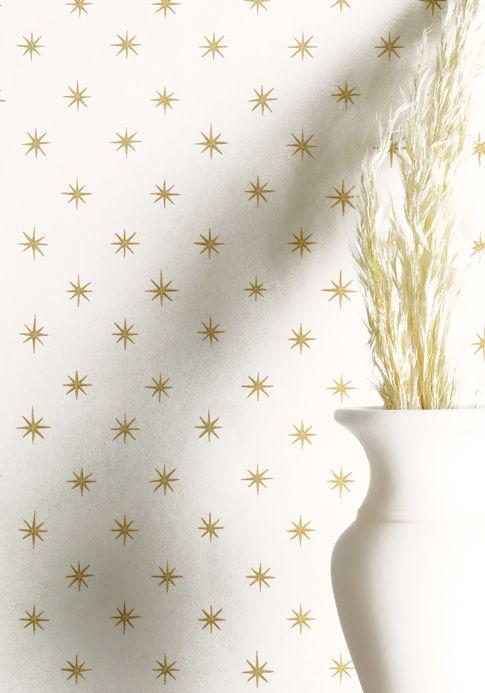 Papier peint géométrique Papier peint Golden Stars doré brillant Vue pièce