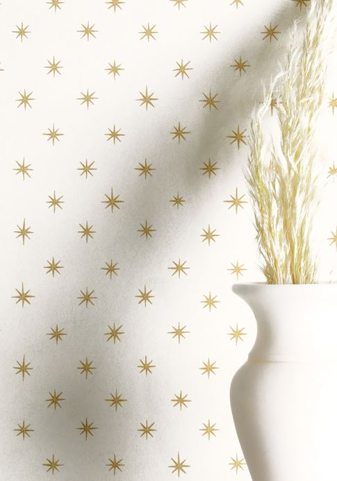 Papel de parede geométrico Papel de parede Golden Stars ouro brilhante Ver ambiente
