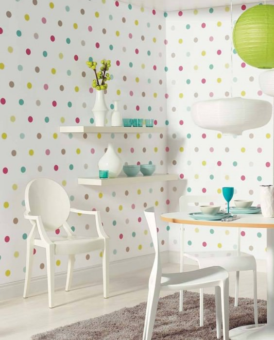 Wallpaper Oralia Matt Dots White Heather violet Light yellow green Light grey brown Turquoise blue