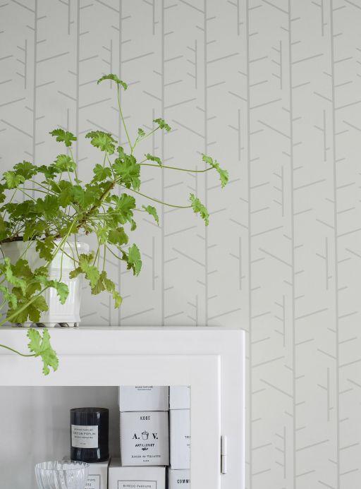 Papel pintado geométrico Papel pintado Arne gris blancuzco Ver habitación