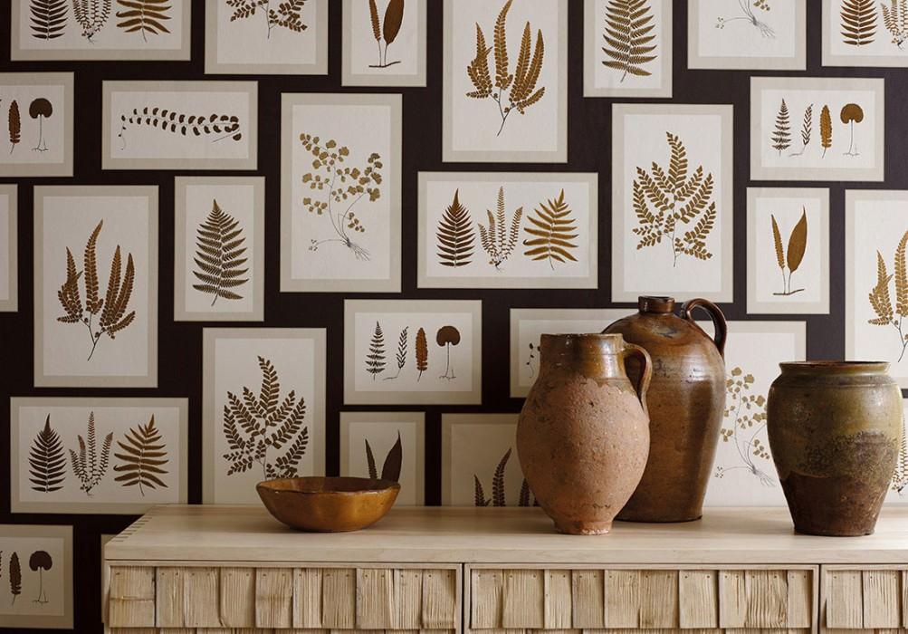 Wallpaper Sitka Matt Picture frames Leaves Black grey Pale grey beige Ochre brown