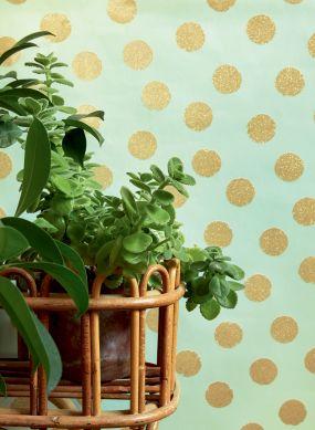 Papel pintado Corbetta verde blanquecino Ver habitación