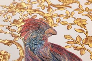 Papel de parede Adriana Mate Damasco floral Pássaros Branco creme Marrom pálido Marrom Amarelo claro Tons de violeta