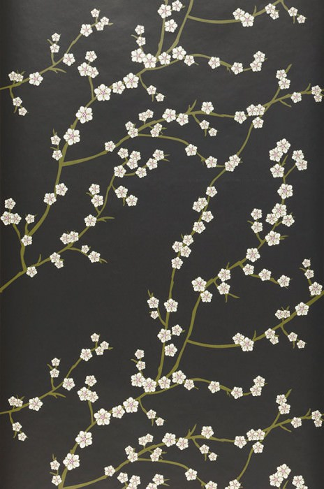 Wallpaper Kyoto Matt Cherry blossoms Branches with blossoms Black Fern green Silver Violet White