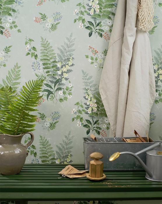 Papel de parede Niobe Mate Folhas Flores Verde pálido Azul brilhante Verde grama Bege esverdeado Laranja avermelhado