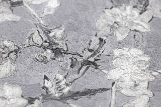 Wallpaper VanGogh Blossom Matt Branches with leaves and blossoms Light grey Grey tones Grey white