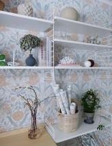 Wallpaper Anita Matt Leaves Flower tendrils White Beige brown Blue grey Cream White grey Pale pink
