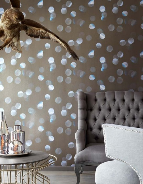 Wallpaper Doman Shimmering Light dots Grey brown Pale red violet Pale golden yellow Sky blue Silver grey