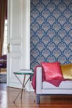 Wallpaper Adeline Matt Floral damask Blue Violet blue White aluminium White blue
