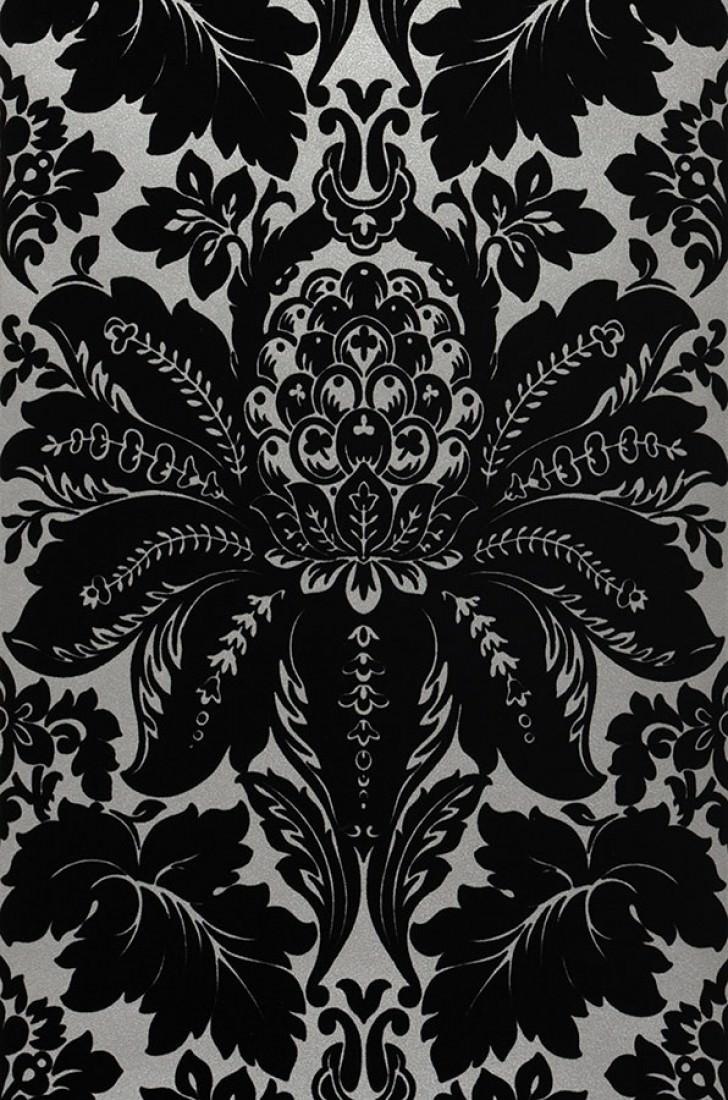 Papel pintado priolaf gris plateado brillante negro - Papel pintado plateado ...