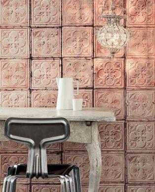 Papel pintado Brooklyn Tins 06 palo de rosa Ver habitación