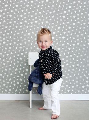 Papel pintado Little Stars gris Ver habitación