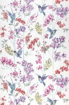 Wallpaper Biala Matt Flower tendrils Hummingbirds Cream Pale yellow shimmer Pale green shimmer Red Violet tones