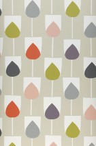 Wallpaper Sanza Matt Graphic elements Light grey beige Cream Fern green Grey Rose Red