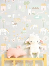 Wallpaper My Farm Hand printed look Matt Trees Buildings Rabbits Cute Little Chicks Horses Sheep Schweine Kühe White grey Pale brown Cream Shades of green Light pink Honey yellow