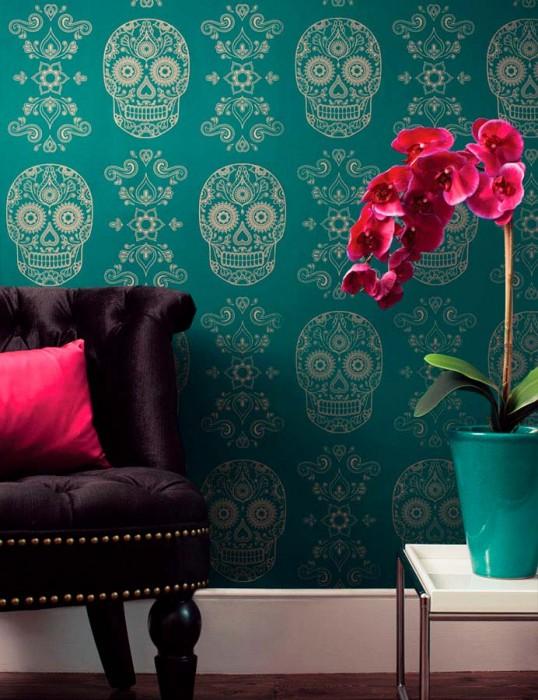 Papier peint Dia de los Muertos Motif chatoyant Surface mate Éléments floraux Skulls Vert émeraude Doré