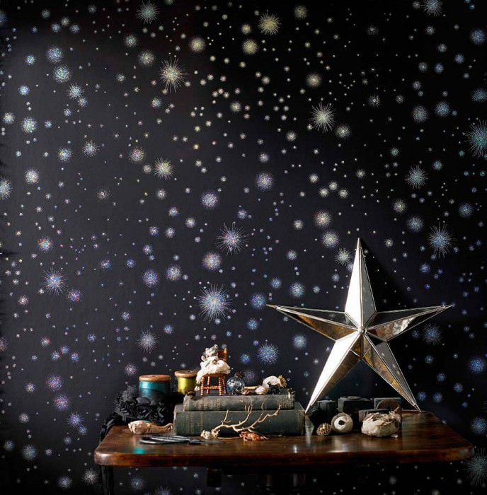 Wallpaper Tohil Shiny pattern Matt base surface Starry sky Black Silver lustre