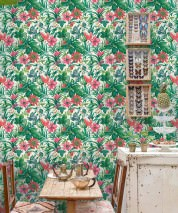 Papier peint Halwa Mat Feuilles Fleurs Fruits Blanc Tons de vert Magenta Orange Rouge