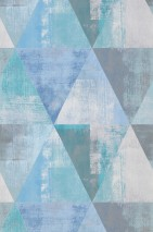 Wallpaper Sarino Matt Triangles Shabby chic Azure blue Grey Grey white Pastel blue Turquoise blue White