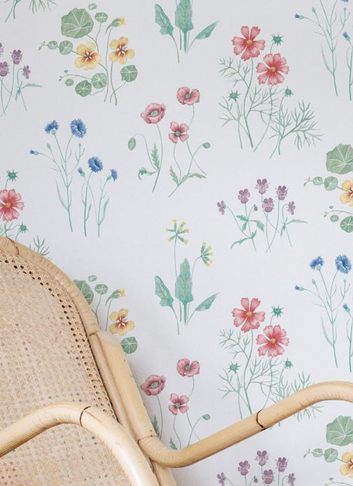 Floral Wallpaper Wallpaper Melodie white Room View