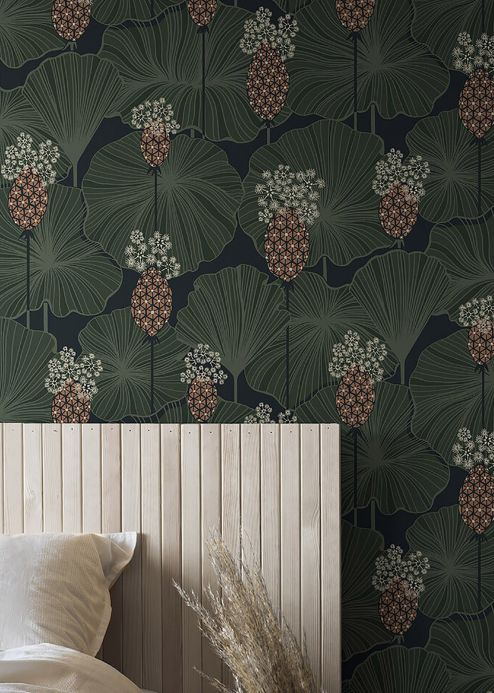 Oriental Wallpaper Wallpaper Kagome shades of green Room View