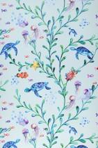 Papel pintado Miali Mate Burbujas Cangrejos Medusas Tortugas Plantas acuáticas Azul pálido Tonos de azul Amarillo Tonos de verde Naranja Tonos de violeta