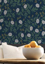 Wallpaper Peonies dark blue