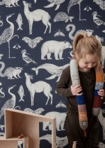 Wallpaper Animal Matt Animals Grey blue Cream