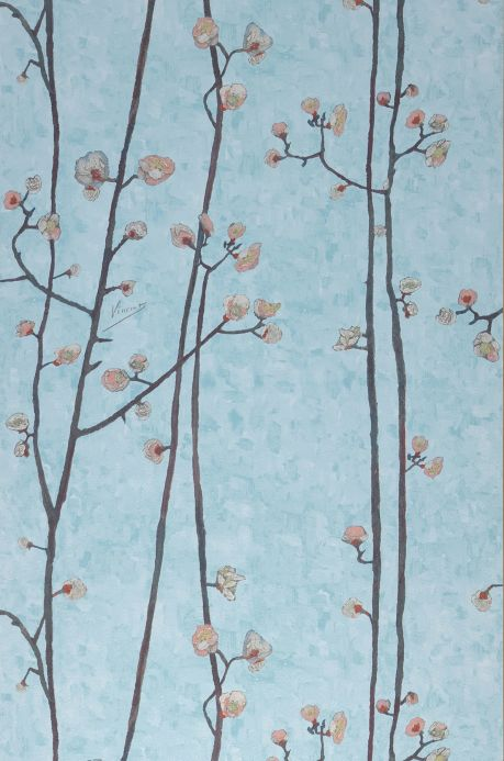Faux Leather Wallpaper Wallpaper VanGogh Branches light pastel turquoise Roll Width