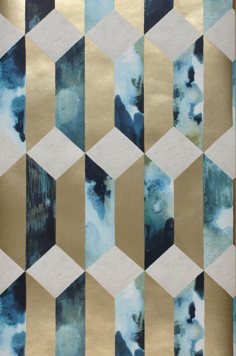 Papier peint géométrique Papier peint Jerom turquoise pastel Largeur de lé