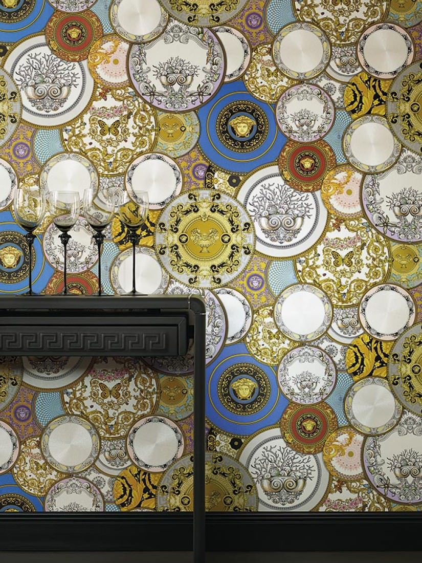wallpaper noell cream shimmer golden yellow sky blue. Black Bedroom Furniture Sets. Home Design Ideas